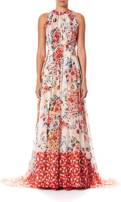 Floral Print Gathered Silk Floor Gown