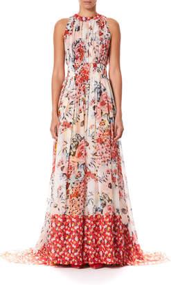 Carolina Herrera Floral-Print Gathered Silk Floor Gown