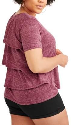POOF-Slinky Junior's Plus Short Sleeve Top with Ruffle Detail