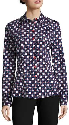 Carven Women's Printed Button-Up Blouse