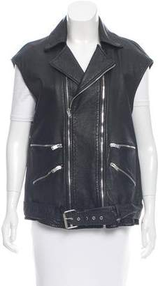 Saint Laurent 2016 Leather Moto Vest w/ Tags