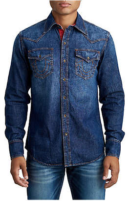 True Religion MENS CONTRAST STITCH WESTERN DENIM SHIRT