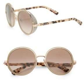 Jimmy Choo Andie Glitter-Trim Round Sunglasses