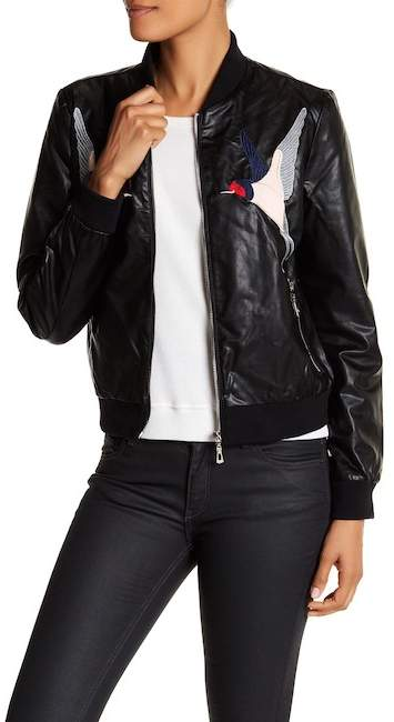 Bagatelle Bagatelle Embroidered Faux Leather Jacket