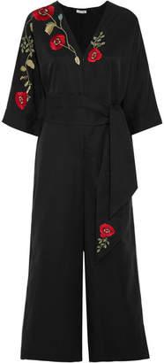 Vilshenko Esenia Embroidered Cotton And Silk-blend Jumpsuit - Black
