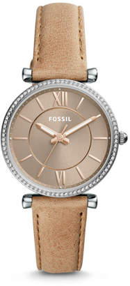 Fossil Carlie Three-Hand Sand Leather Watch