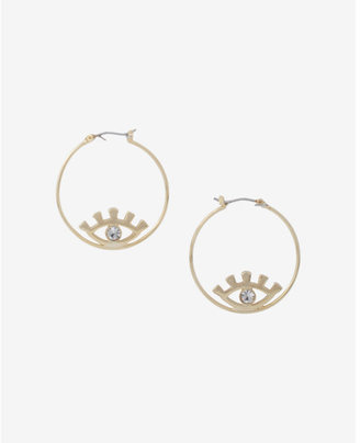 Express Evil Eye Hoop Earrings $19.90 thestylecure.com