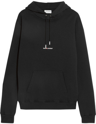 Saint Laurent - Oversized Printed Cotton-jersey Hooded Top - Black $890 thestylecure.com