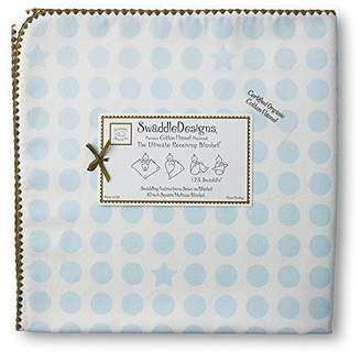 Swaddle Designs Organic Ultimate Receiving Blanket, Dots and Stars with Mocha Trim, Pastel Blue