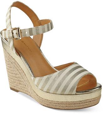 Tommy Hilfiger Kali Platform Espadrille Wedge Sandals Women's Shoes $79 thestylecure.com