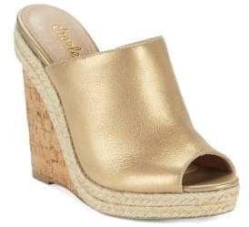 Charles by Charles David Balen Leather Wedge Mules