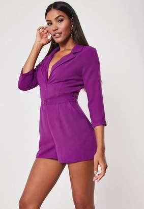 Missguided Purple Zip Front Blazer Romper