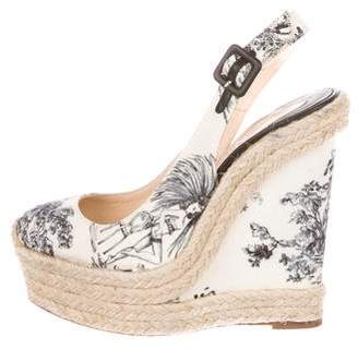 Christian Louboutin Printed Espadrille Wedges