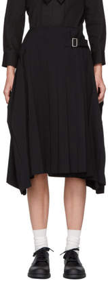 Comme des Garcons Black Wool Pleated Side-Buckle Skirt