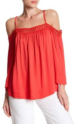 Love Stitch Woven Cold Shoulder Long Sleeve Blouse