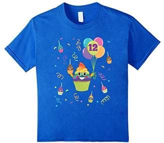 Poop Emoji 12 Birthday Twelve Cupcake Years Old Shirt Girls