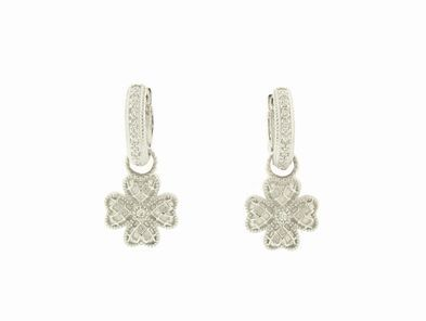 Zasha Quilted 4 Heart Earring Charms in White Gold
