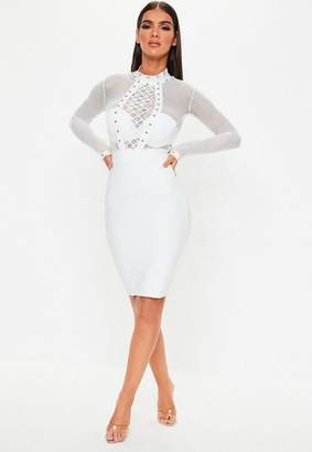 Missguided Premium White Lace Studded Bodycon Dress