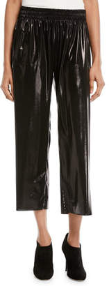Norma Kamali Cropped Boyfriend Metallic Sweatpants