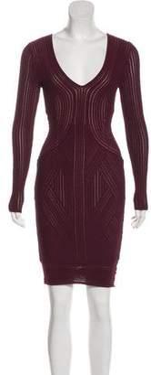 Ronny Kobo V-Neck Knit Mini Dress