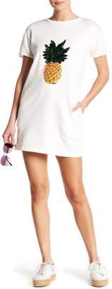 Romeo & Juliet Couture Pineapple Sequin Short Sleeve Tee Dress