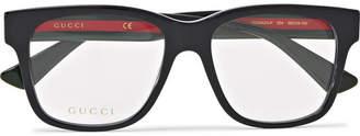 Gucci Square-Frame Striped Acetate Optical Glasses