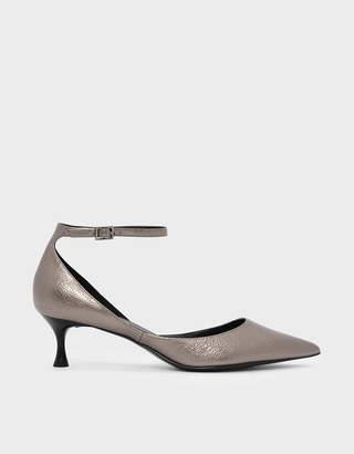 da2506976e1 Charles   Keith Metallic Ankle Strap Heeled Sandals