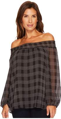 Tribal Plaid Off Shoulder Blouse Women's Blouse