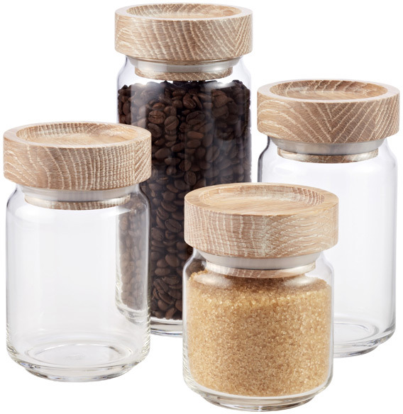 Container Store Artisan Glass Canisters with Lime Wash Lids