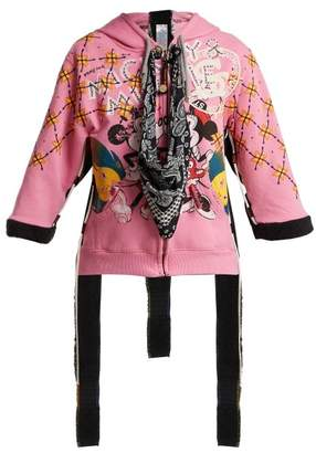 Noki - Customised Street Couture Zip Up Hooded Sweatshirt - Womens - Pink Multi