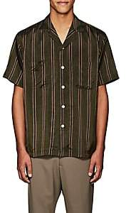 Second / Layer Men's Striped Oversized Short-Sleeve Shirt-Dk. Green Size S