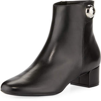 Salvatore Ferragamo Low-Heel Booties With Button Detail