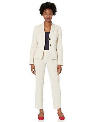 Le Suit Women's Plus Size 2 Button Notch Collar Mini Stripe Pant Suit