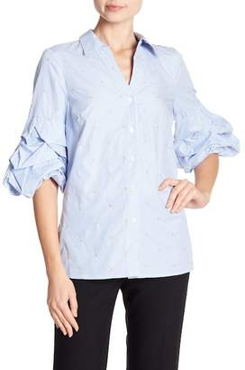 Badgley Mischka Pin Stripe Ruffle Sleeve Blouse