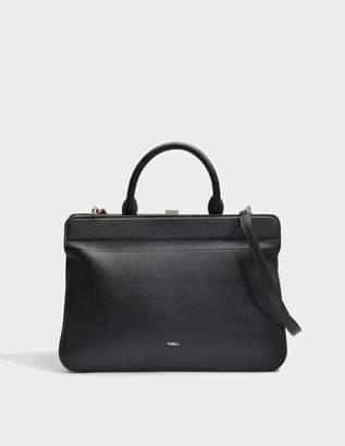 Furla Mirage Medium Top Handle Bag in Onyx Calfskin