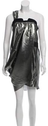 Derek Lam Metallic Knee-Length Dress Gold Metallic Knee-Length Dress
