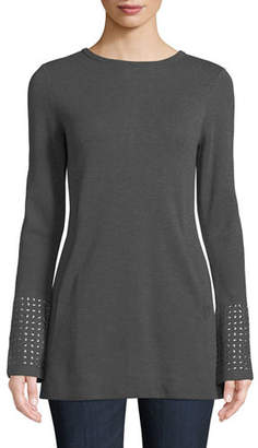 Nic+Zoe Round-Neck Long-Sleeve Grommet-Cuff Knit Top