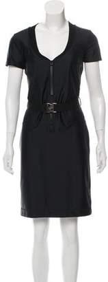 Gucci Belt-Accented Knee-Length Dress