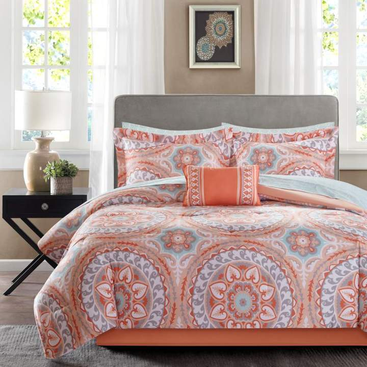 Madison Park Serenity Full 9-piece Complete Bed and Sheet Set - Coral