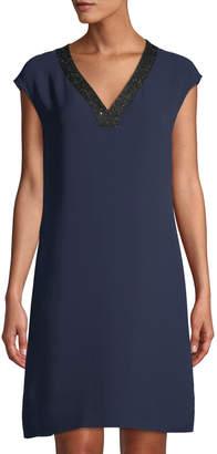 Lafayette 148 New York Jolet Cap-Sleeve Sequin-Trimmed Silk Dress, Blue