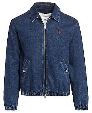 Ami Paris Men's Zip-Up Denim Jacket