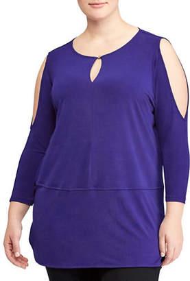 Lauren Ralph Lauren Plus Jersey Cutout-Shoulder Top