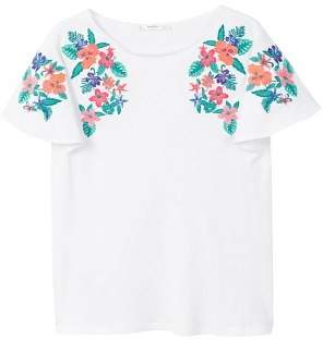 MANGO Embroidered flowers t-shirt