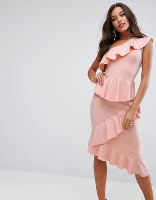 Asos One Shoulder Tiered Ruffle Bodycon Midi dress