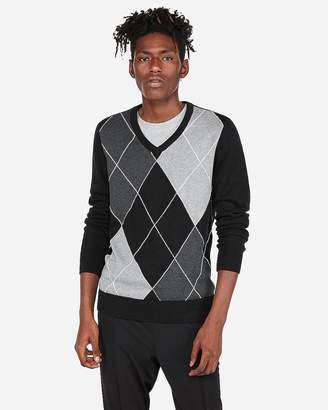 Express V-Neck Argyle Sweater