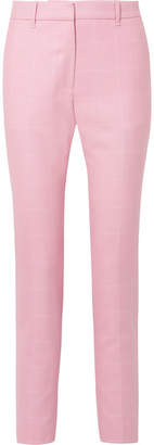 Calvin Klein Checked Wool Straight-leg Pants - Baby pink