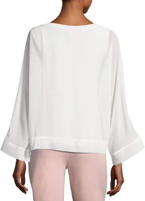 Joan Vass Dolman-Sleeve Crepe Chiffon Sweater