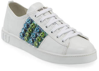Miu Miu Jeweled Leather Platform Low-Top Sneakers