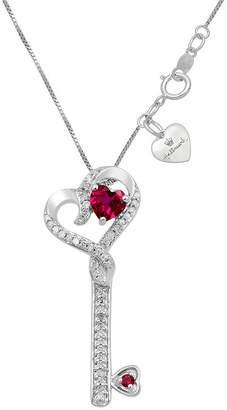 HALLMARK DIAMONDS Hallmark Diamonds Womens Lab Created Red Ruby Sterling Silver Heart Pendant Necklace