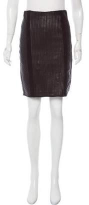 Pink Tartan Leather Pintuck Skirt